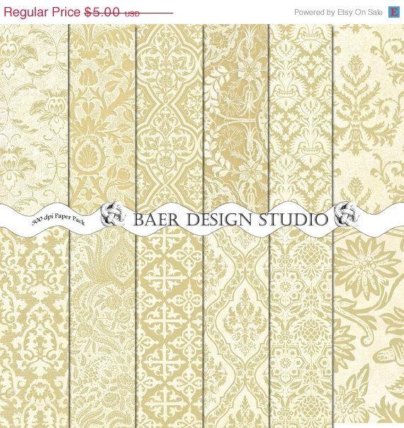 ON SALE BRASS Digital Paper Gold Damask 12x12 by BaerDesignStudio, $4.00
