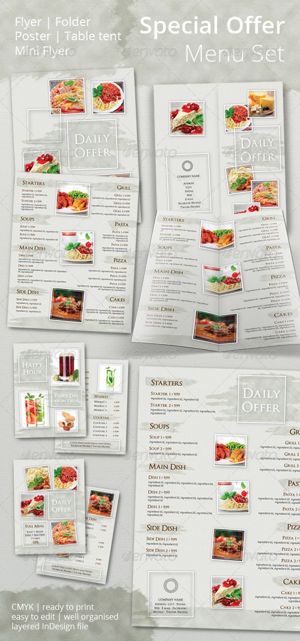 special offer promotional set indesign templates template and menu templates. Black Bedroom Furniture Sets. Home Design Ideas