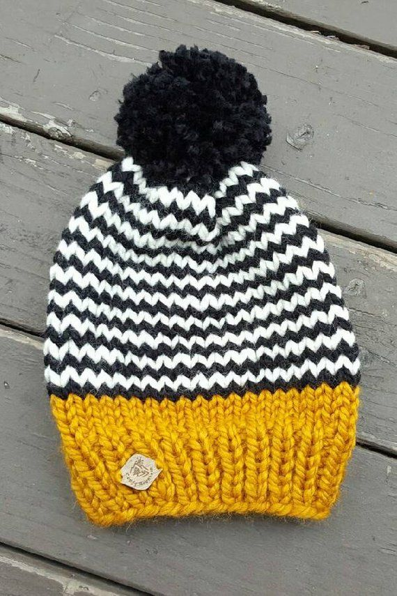 Knit hat with pom pom / knit beanie /knit hat/womens/ mens gift/ unisex winter hat/knit slouchy fair isle stripe beanie / accessory #beanies