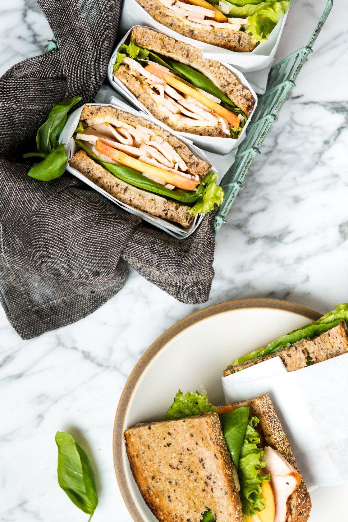 Turkey, Peach & Basil Sandwiches Recipe Sandwiches
