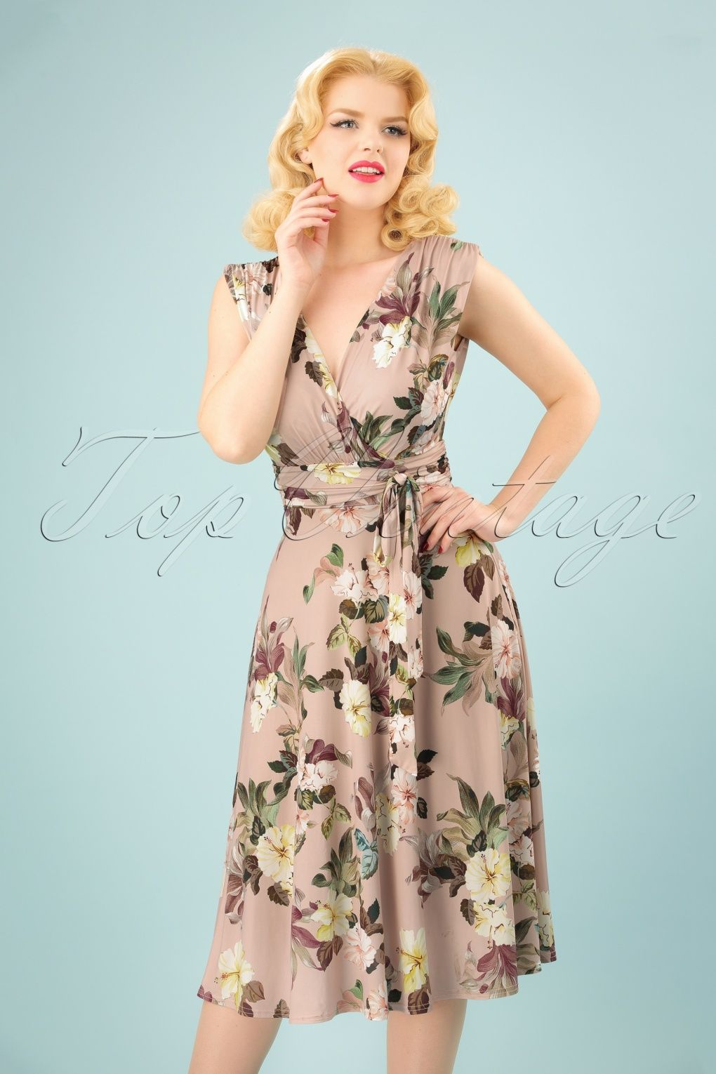 50s Jane Floral Midi Dress in Light Pink | Midi dresses, Floral and ...