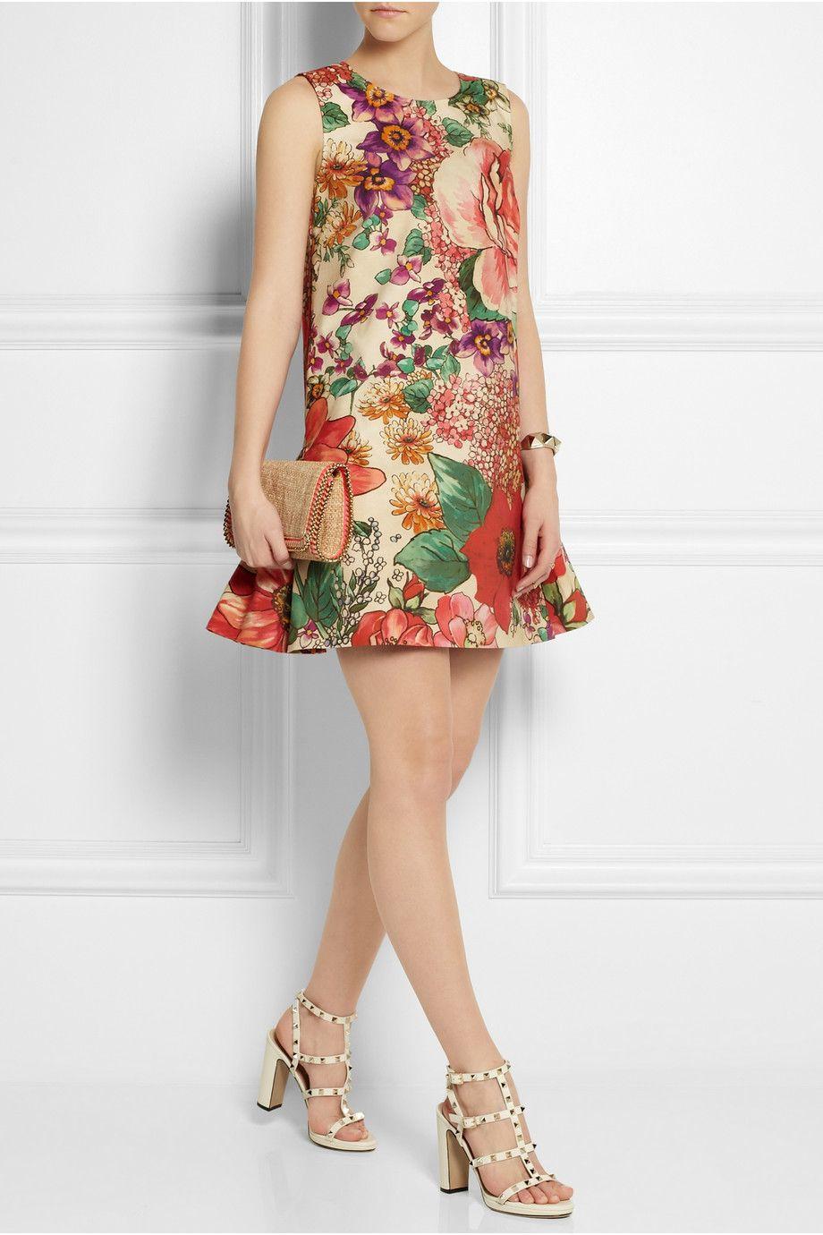 REDValentino - Floral-print cotton mini dress