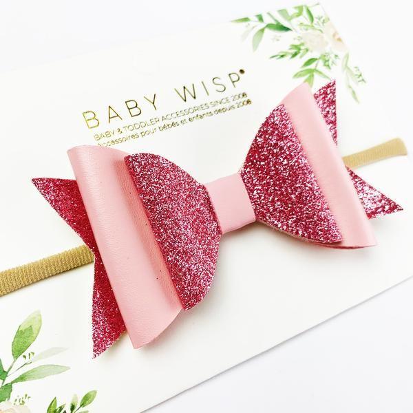 3x Newborn Baby Girl Toddler Leather Bow Nylon Soft  Headband Hair Accessories