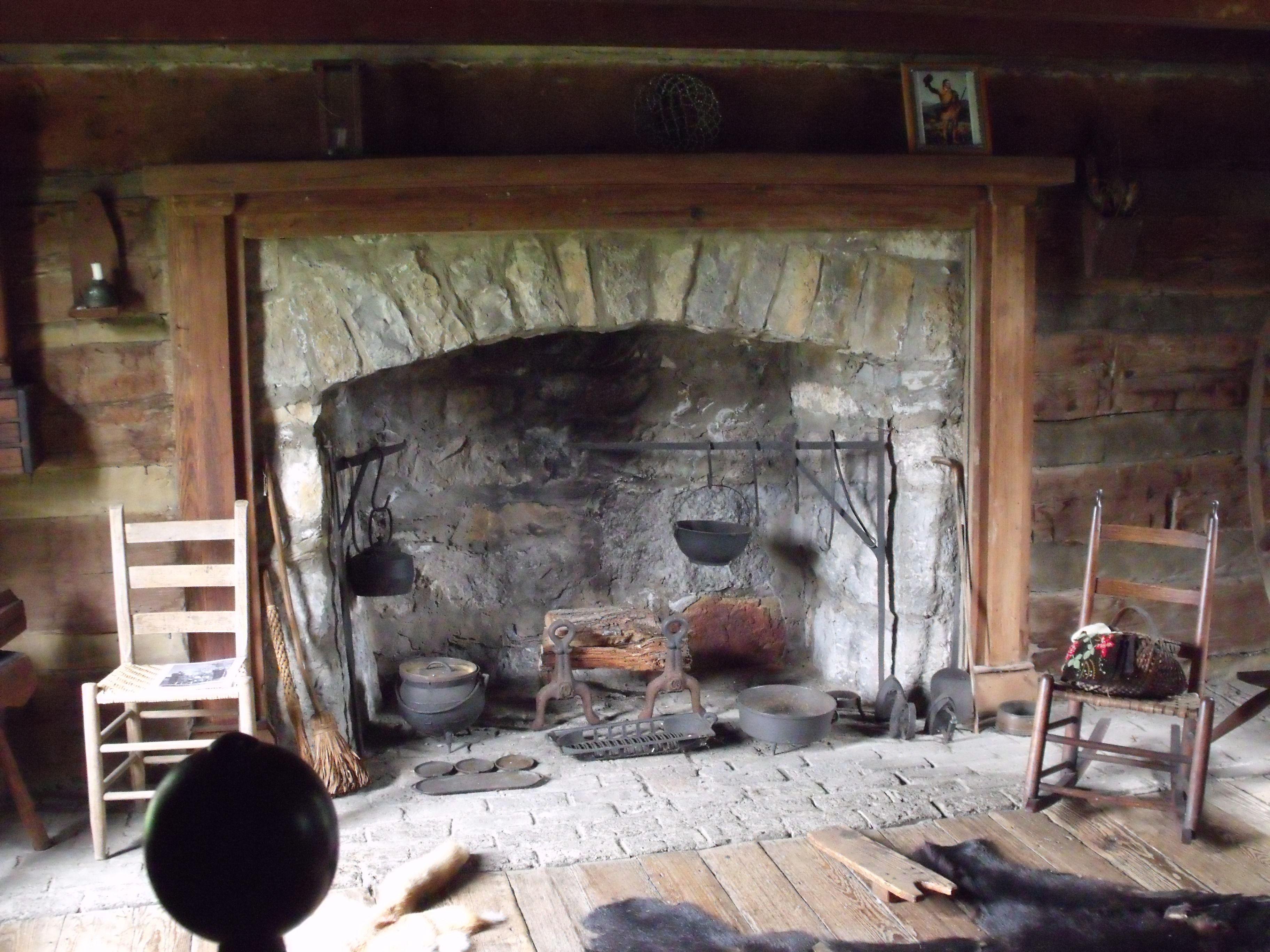 View Of U0027trueu0027 Tavern Room. Bearskin Rug, Hearth Cooking Equipment,