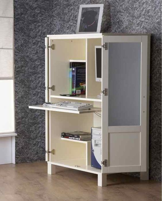 20 Hideaway Desk Ideas To Save Your Space Hideaway Computer Desk Desk Wardrobe Hidden Desk