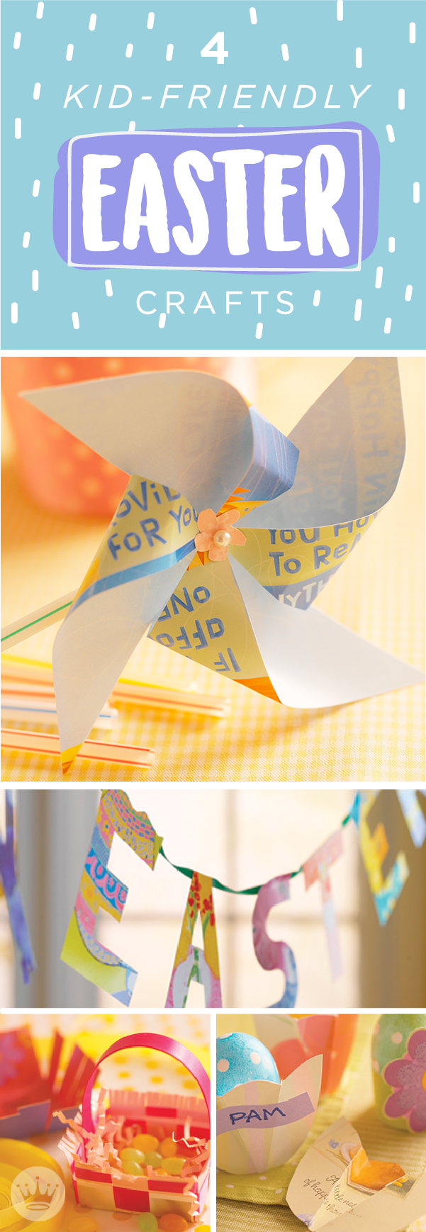 Make some new Easter decorations—and new memories—with a few recycled cards and a little time. Hallmark's Easter crafts are quick-like-a-bunny to make—just print the templates and easy step-by-step instructions to craft your own hoppy Easter treat baskets, egg-cup place cards, pinwheels and garland.