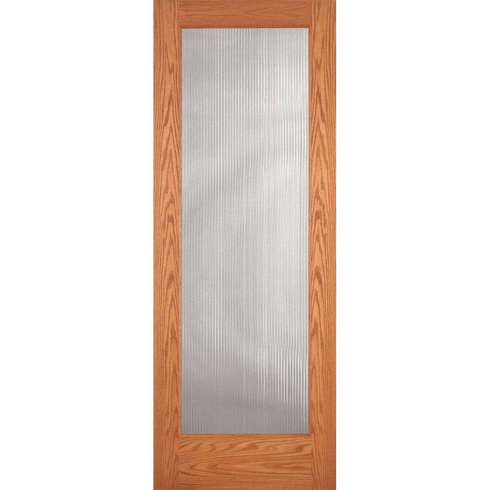 Feather River Doors 36 In X 80 In Reed Woodgrain 1 Lite Unfinished