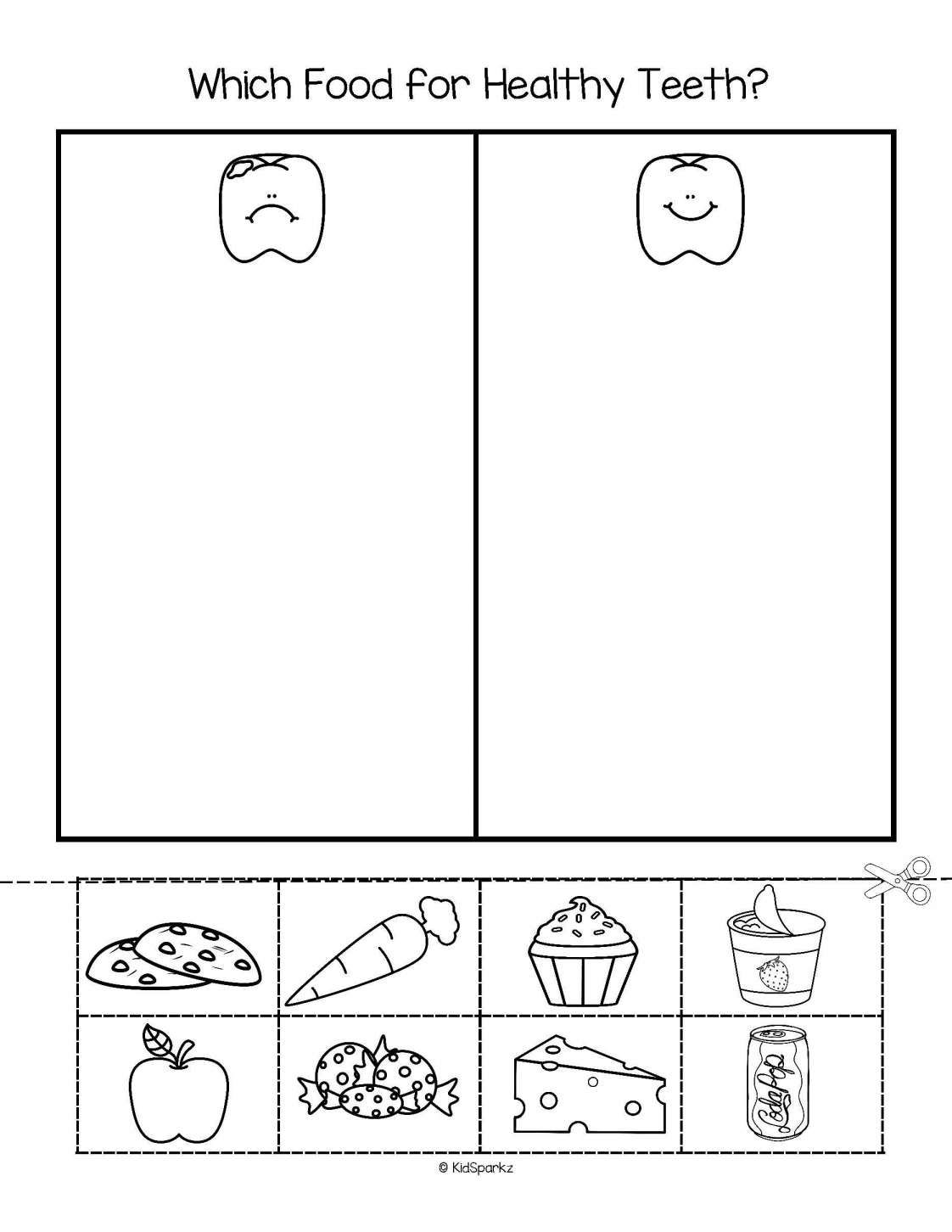 4 Teeth Worksheet Preschool  Dental health activities, Healthy