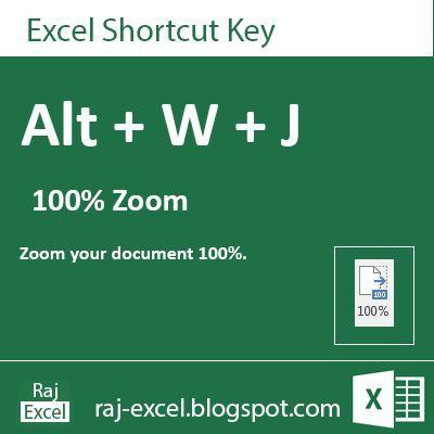 Raj Excel Microsoft Excel 2013 Short Cut Keys Alt + WJ (100