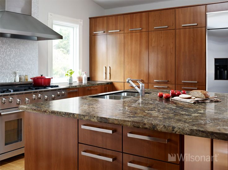 This beautiful kitchen features our new wilsonart hd for Traditional kitchen meaning
