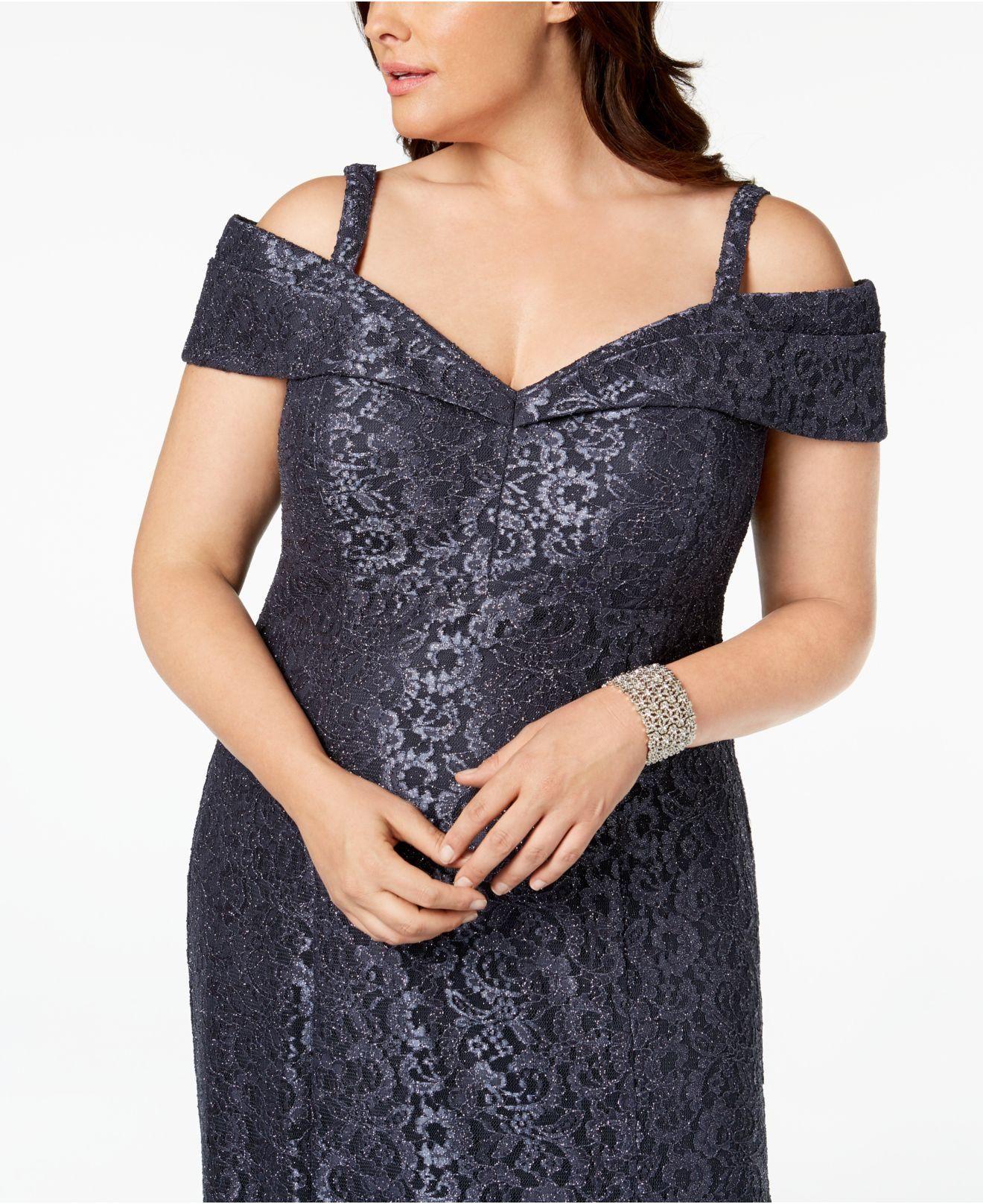 1c85f0852ce R   M Richards Plus Size Off-the-shoulder Lace Gown in Blue - Lyst ...