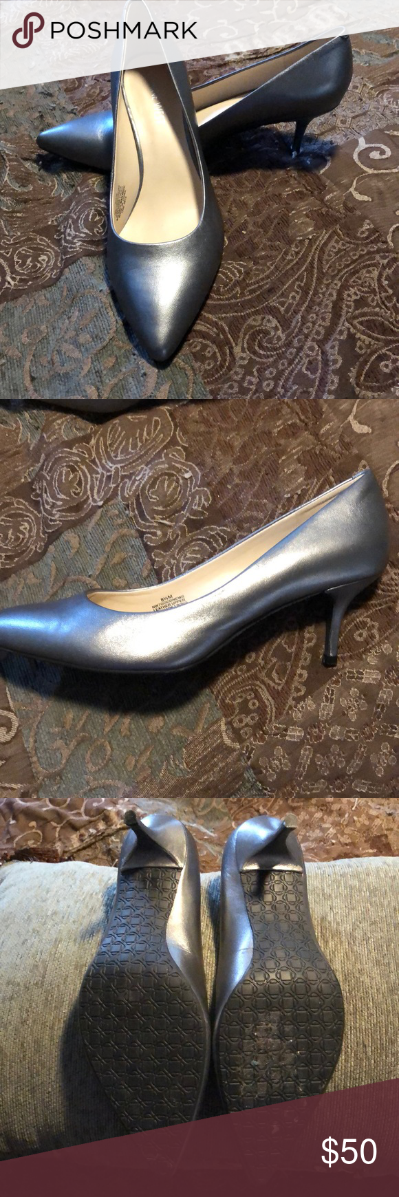 Nine West Silver Kitten Heel Pumps Kitten Heel Pumps Silver Kitten Heels Kitten Heels