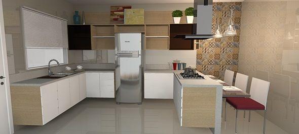 Projeto de cozinha com porcelanato polido retificado e for Azulejo de porcelanato