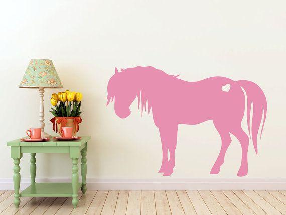 3 foot tall Pony horse with heart vinyl Wall DECAL- Animal interior design & 3 foot tall Pony horse with heart vinyl Wall DECAL- Animal interior ...