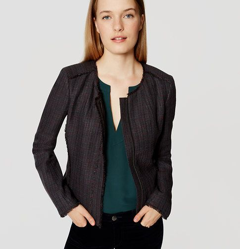 "Chic happens when the forever-polished tweed jacket gets modern - with fringe edging. Round neck. Long sleeves. Hidden zip front. Lined. 19"" long."
