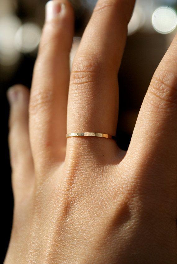 Gold Stacking ring, hammered stacking ring, 14k gold filled stacking ...