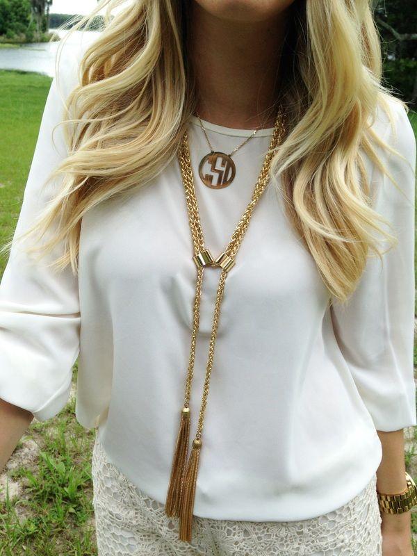 outift, necklace, monogram, tassel