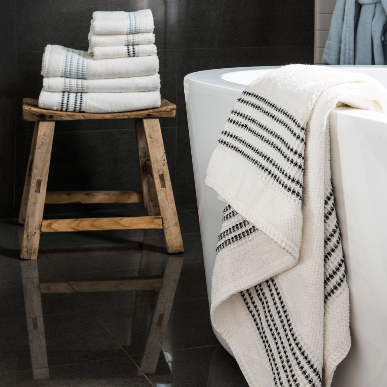 Waffle Border Bath Towel Advanced Textile Hidden