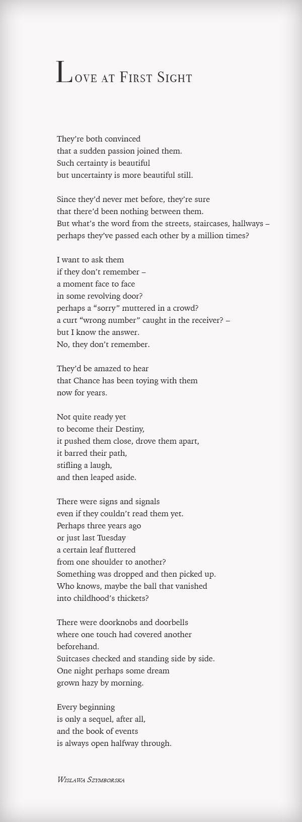 Love At First Sight Beautiful Poem By Wislawa Szymborska