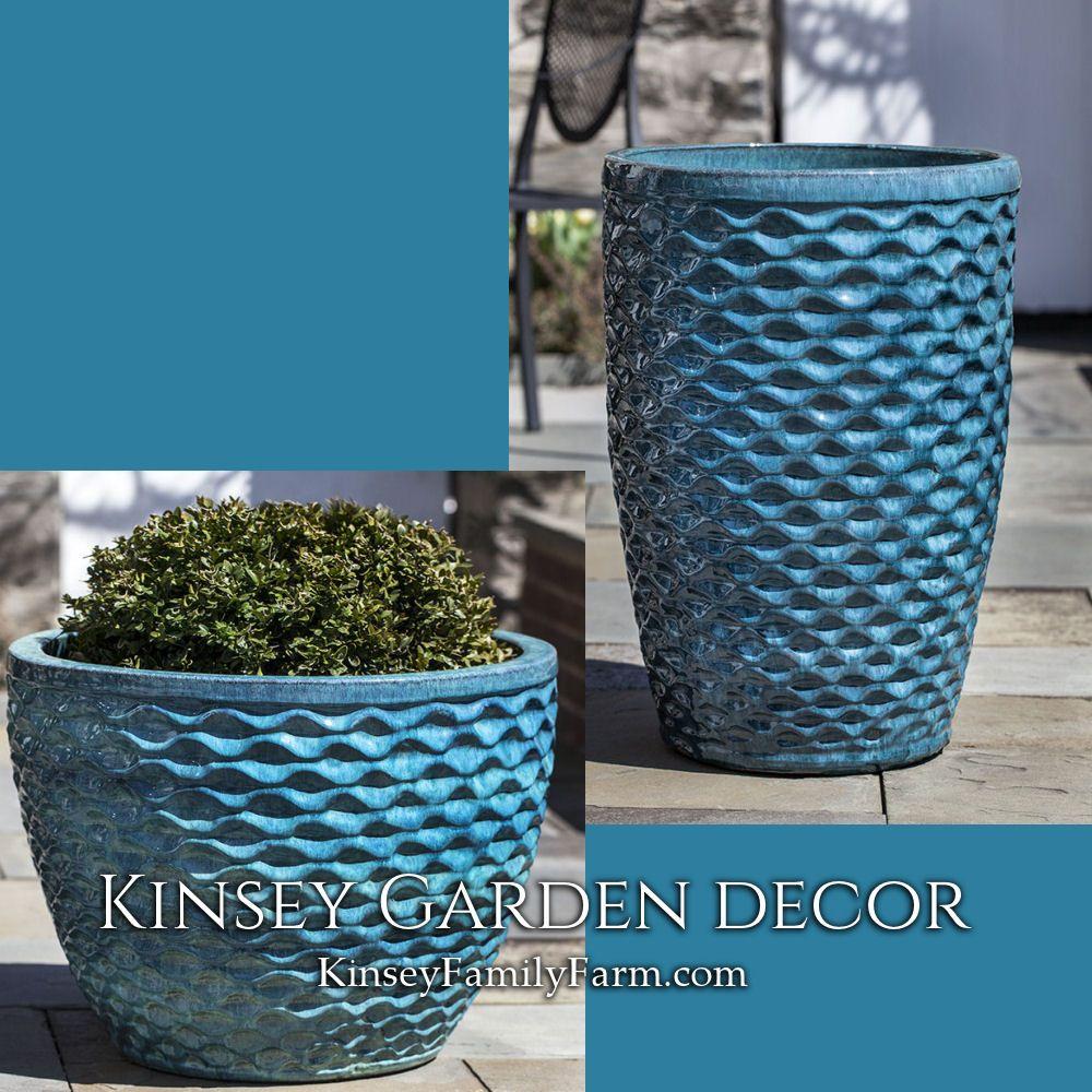 Kinsey Garden Decor Extra Large Indoor Outdoor Honeycomb Aqua Blue Glazed Ceramic Planters Decorative Potter Ceramic Planters Garden Decor Flower Pots Outdoor
