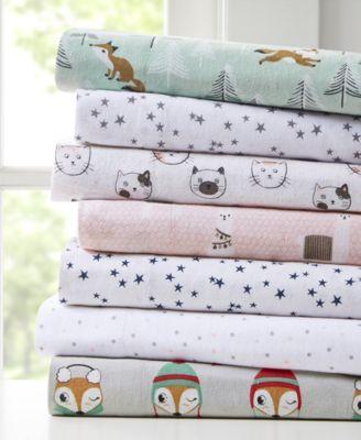 Intelligent Design Novelty Print Cotton Flannel Twin Xl Sheet Set
