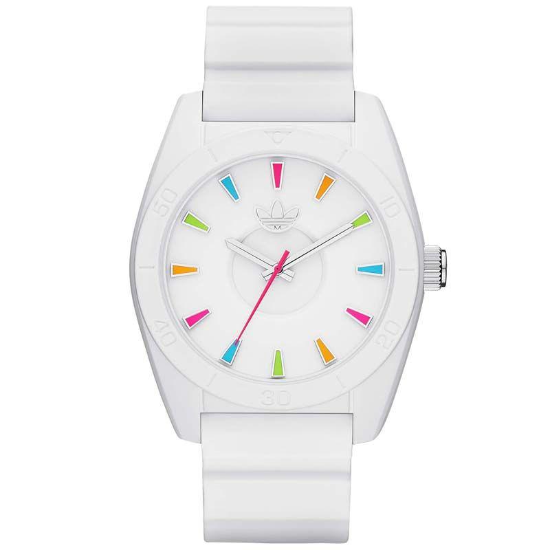 Montre ADIDAS ORIGINALS Mixte, Boîtier Rond Bracelet Silicone Blanc, Index Multicolores