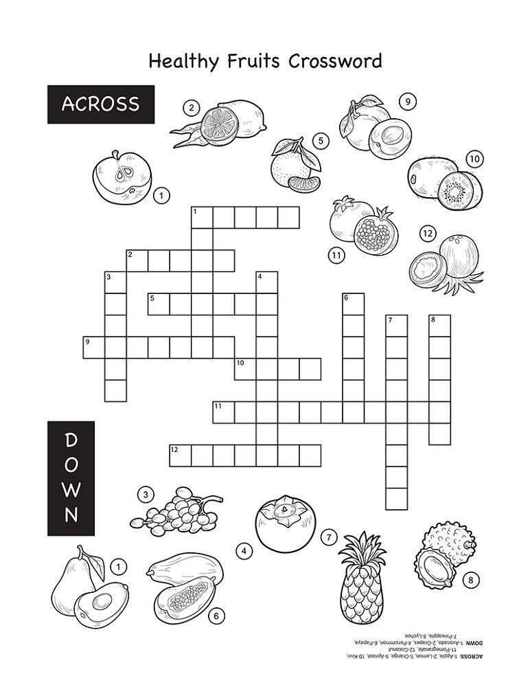 Crossword Puzzles For Kids Fruit Puzzles For Kids Fruits For Kids Crossword Puzzles