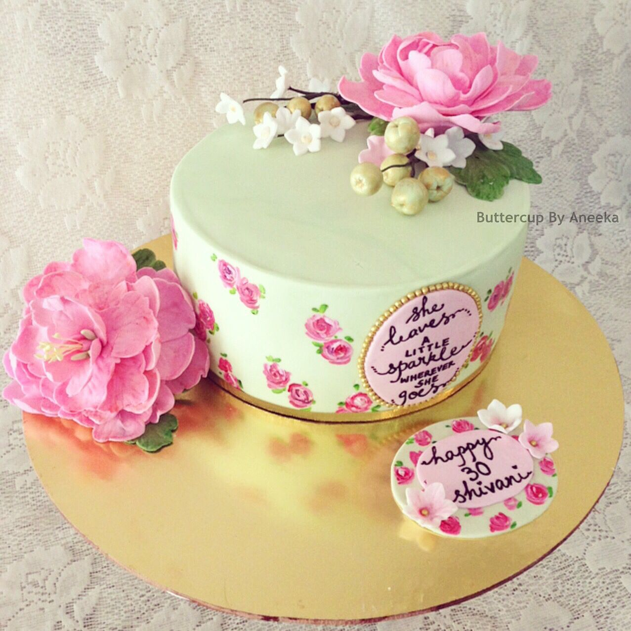 Fondant Cake With Flowers Mint Green And Pink Cake Flowers And