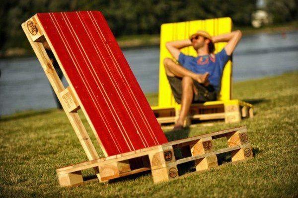 Klettergerüst Streichen : Liegestuhl garten selber bauen streichen rot gelb ideen paletten