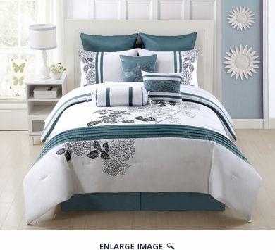 9 Piece King Aqua Bloom 100 Cotton Comforter Set 149 For Set Comforter Sets Hotel Bedding Sets Bed Linens Luxury