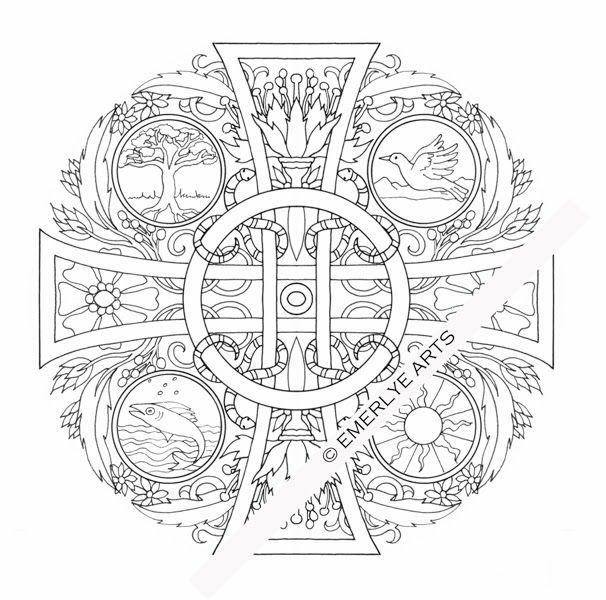 Four Elements Cross Mandala