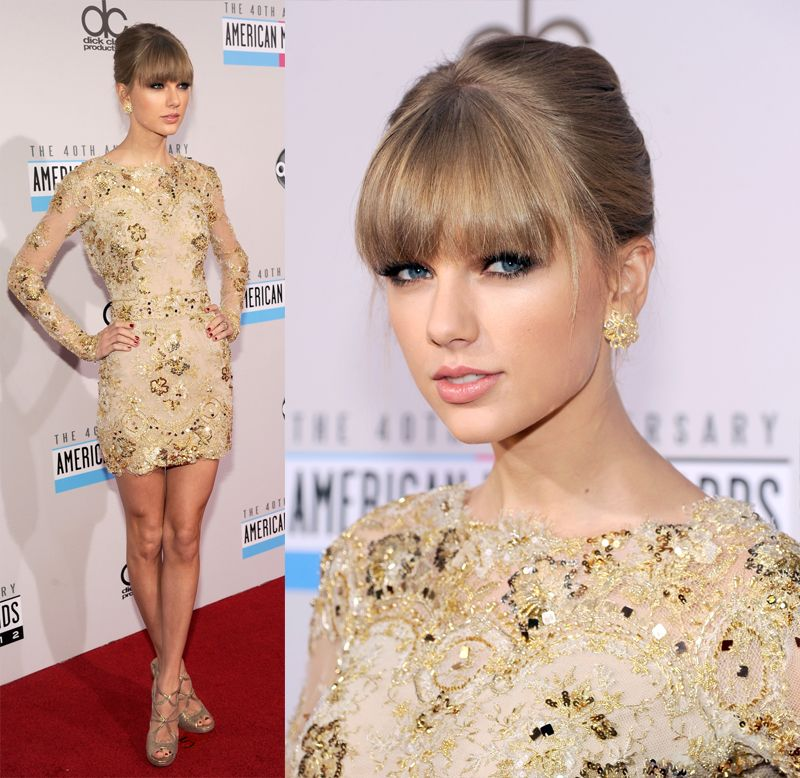 Taylor Swift\'s gold longsleeve dress at the American Music Awards ...
