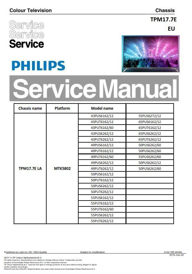 Philips 55pus6162 Tv Service Manual And Repair