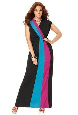 Plus size colorblock maxi dresses