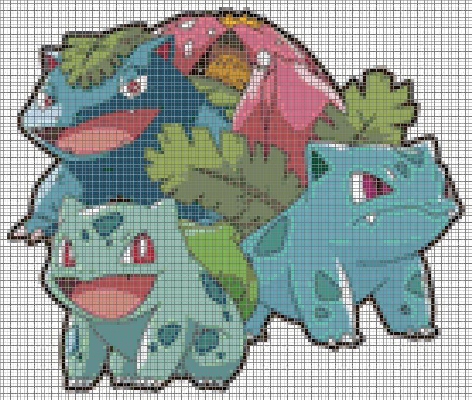 Pokemon Bulbasaur Evolutions 75 Colors Cross Stitch Pattern Pokemon Cross Stitch Patterns Pokemon Cross Stitch Cross Stitch Designs