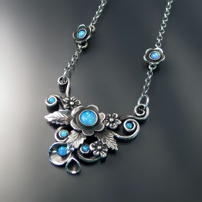 Enchanted garden Antiqued silver necklace with opals Nature