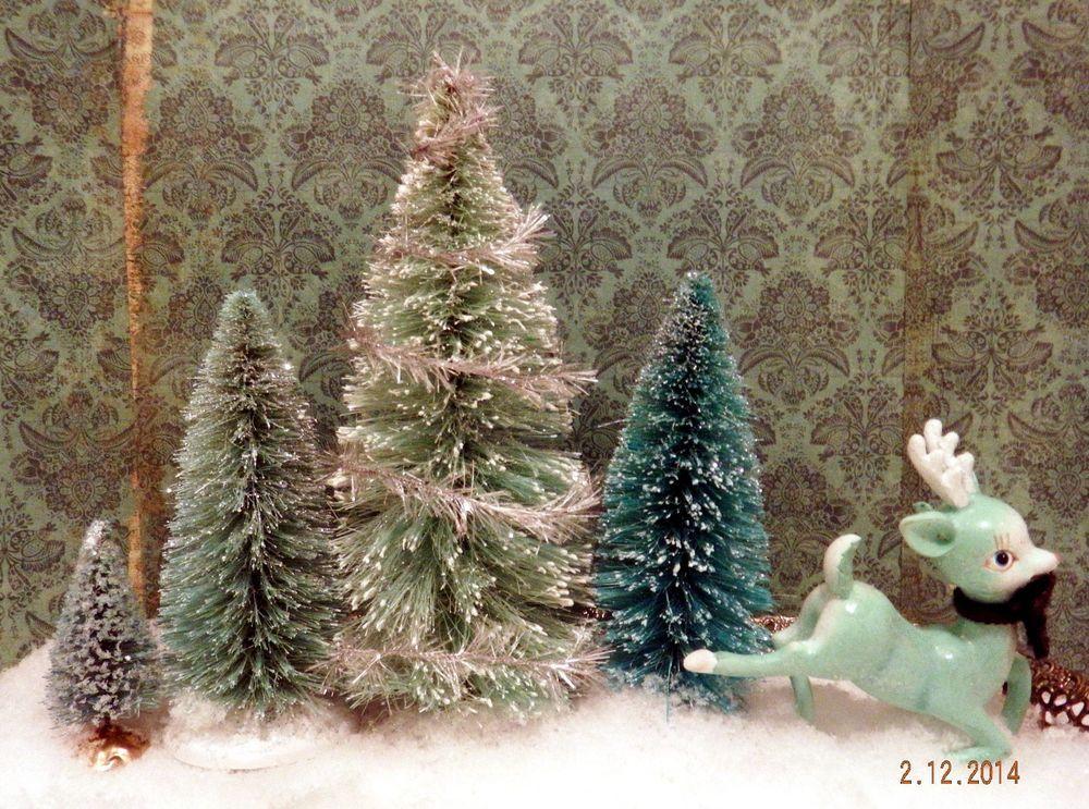 Bottle Brush Xmas Trees Reindeer Vintage 1950 S Style Holiday Village Display Holiday Village Display Xmas Tree Holiday Village