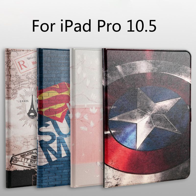 New 2017 Fashion Painted Pu Leather Stand Holder Cover Case For Ipad Pro 10 5 Inch Tablet Film Stylus Leather Stand Fashion Painting Case Cover