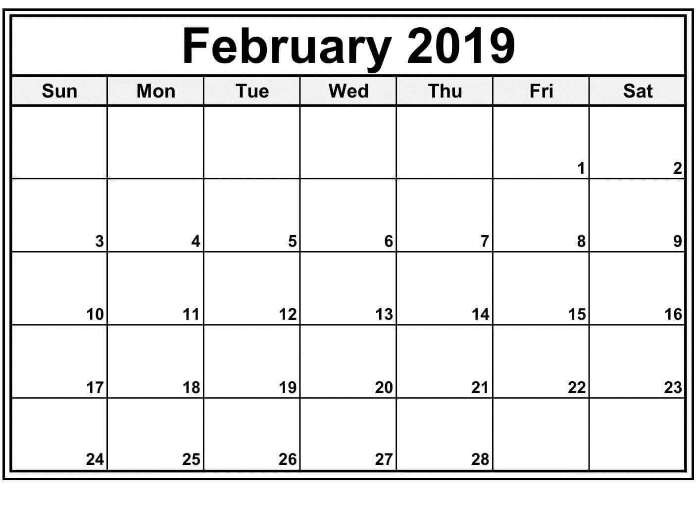 February 2019 Blank Calendar Template Blank Calendar Template