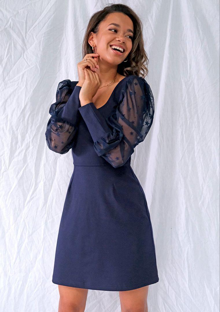 Sukienka Z Rekawem W Gwiazdki Granatowa Dresses Fashion Maxi Dress