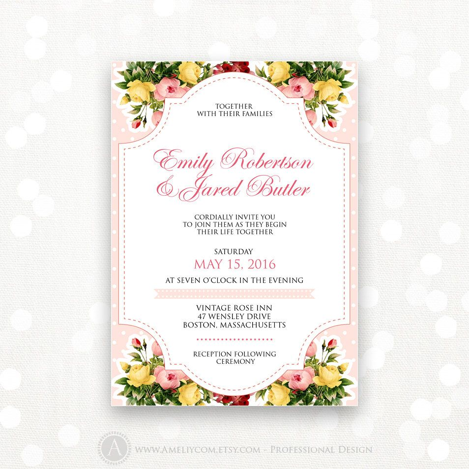 Printable Wedding Invitation Template - Pink Flower Weddings Invite ...