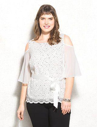 Plus Size Sequin Lace Cold-Shoulder Blouse
