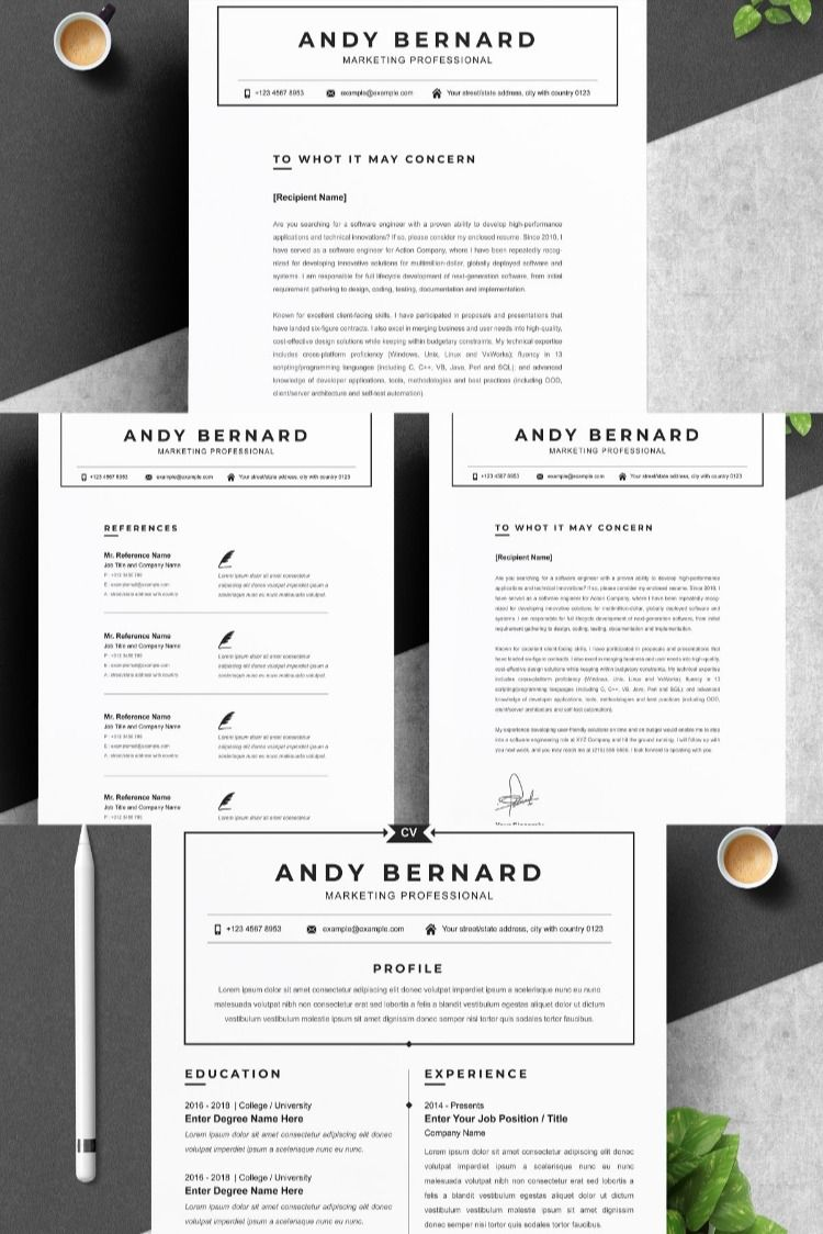CV Resume Template With Photo in 2020 Resume words