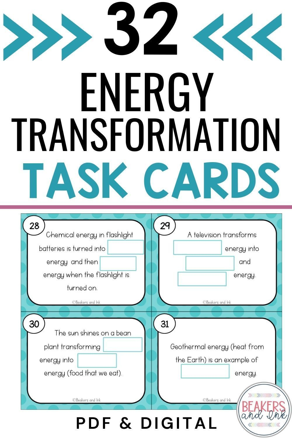 Energy Types And Transformation Task Cards Task Cards Energy Transformations Energy Activities