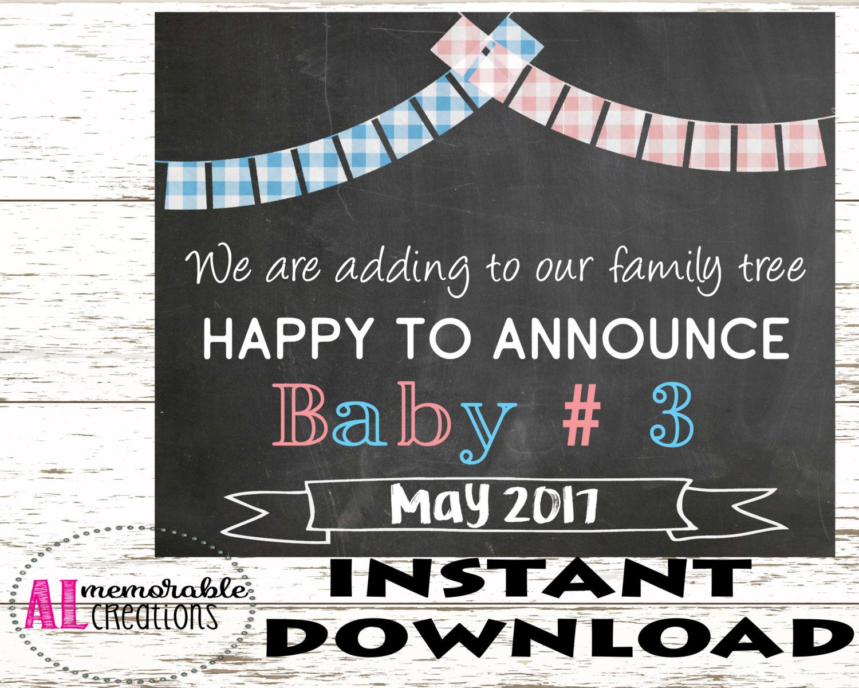 Pregnancy Announcement Photo PropThird Baby Announcement – Expecting Baby Announcement