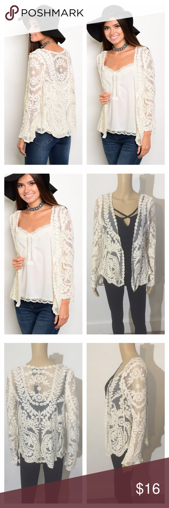NWT last medium Ivory Crochet Lace Cardigan Boutique | Front lace ...