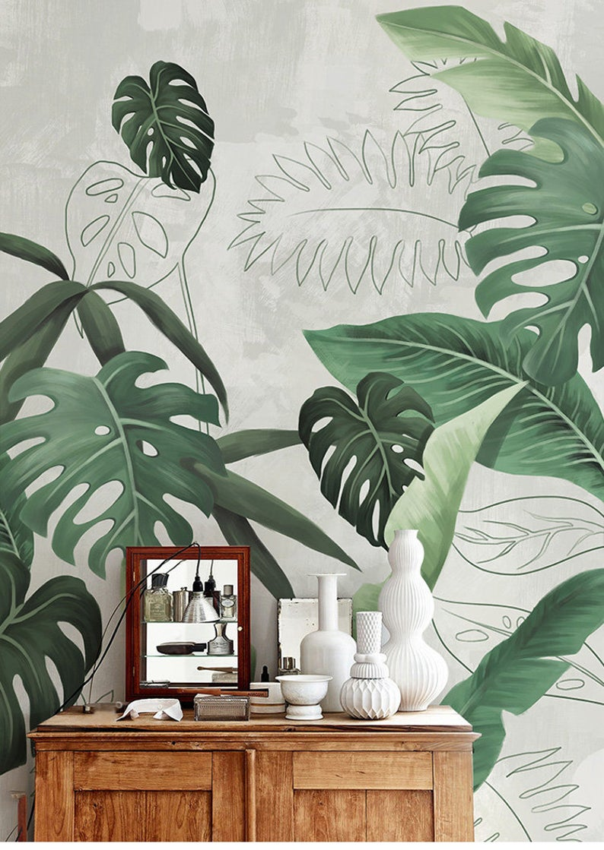 Southeast Asian Rainforest Plant Wall Murals Wall Decor Green Leaves Shrub Wallpaper Wall Mural Tropical Landscape Wallpaper In 2020 Wall Wallpaper Wall Murals Plant Wall