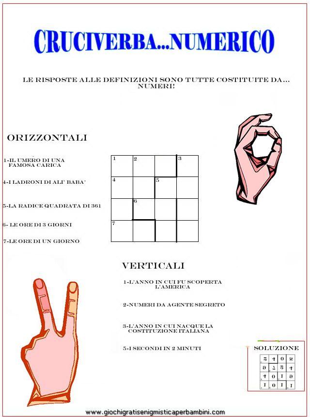 Cruciverba Per School Bambini E Enigmistica RagazziIta numerico W9DHI2E