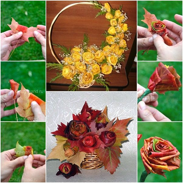 How to DIY Fall Leaf Rose Flower Bouquet (Video) | basteln ...
