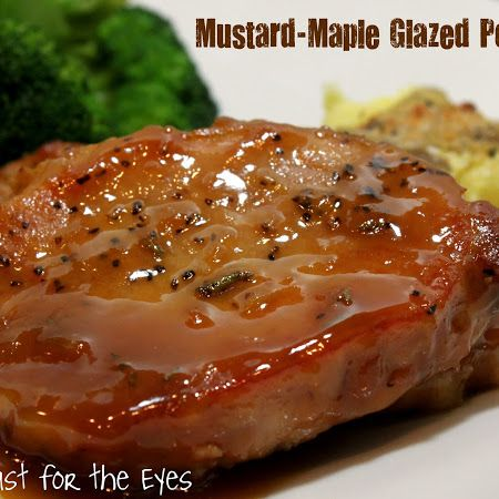 Mustard-Maple Glazed Pork Chops! Sweet and Savory in perfect harmony! Great Sunday dinner recipe, serve with veggies, rolls and taters! Mmmmm!